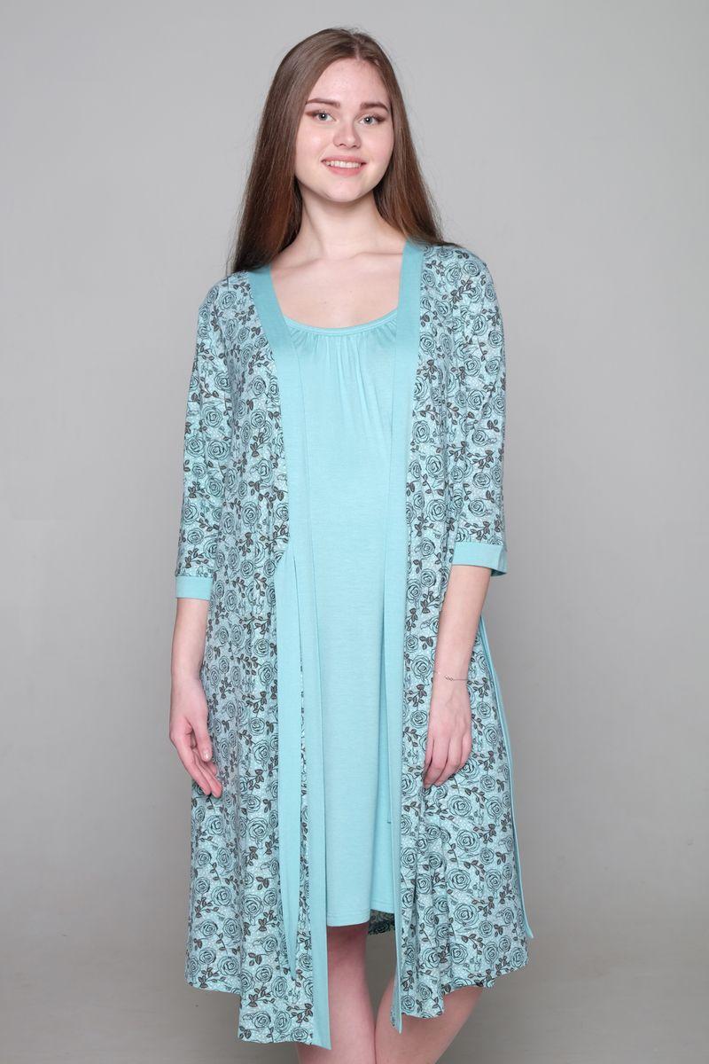 Комплект для беременных и кормящих Hunny Mammy: халат, сорочка ночная, цвет: ментоловый, серый. 1-НМК 09132. Размер 501-НМК 09132Комплект Hunny Mammy, изготовленный из вискозы с добавлением эластана, состоит из халата и ночной сорочки. Халат на запах с рукавами 3/4 оформлен принтом. Для кормления на сорочке предусмотрены удобные застежки-клипсы.