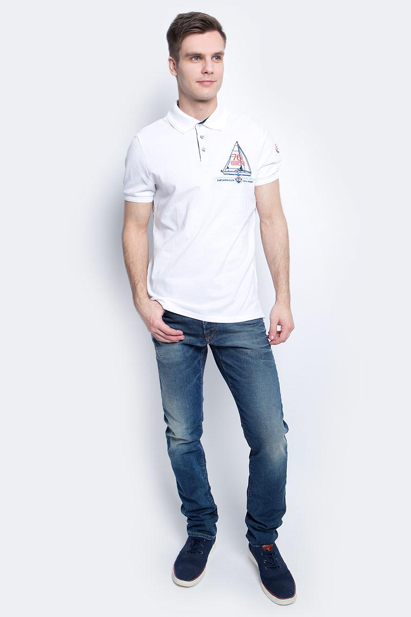 Поло мужское Baon, цвет: белый. B707003_White. Размер L (50)B707003_WhiteПоло мужское Baon выполнено из натурального хлопка. Модель с отложным воротником и короткими рукавами застегивается на пуговицы.