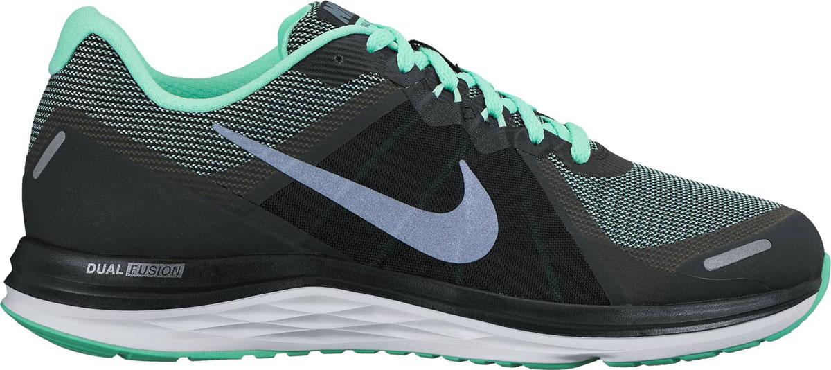 Кроссовки для бега женские Nike Dual Fusion X 2, цвет: черный, бирюзовый. 819318-011. Размер 7 (37,5)819318-011Женские кроссовки для бега Dual Fusion X2 от Nike выполнены из дышащего сетчатого текстиля с полимерными накладками. Материал Sandwich Mesh с динамическим каркасом обеспечивает превосходную посадку и поддержку. Шнуровка надежно зафиксирует модель на ноге. Стелька выполнена из плотного материала Phylon и текстиля. Внутренняя поверхность из текстиля не натирает. Технология подошвы Dual fusion гарантирует сцепление с различными поверхностями и увеличение прочности.