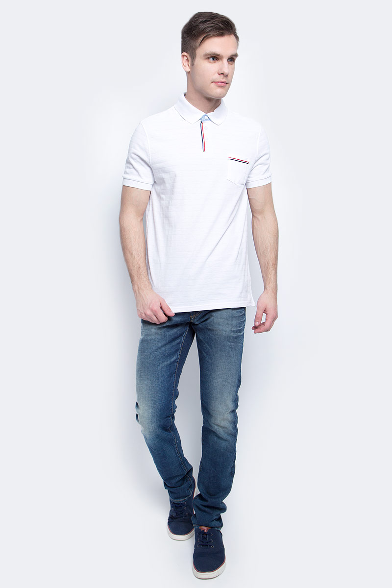 Поло мужское Baon, цвет: белый. B707008_White. Размер L (50)B707008_WhiteПоло мужское Baon выполнено из натурального хлопка. Модель с отложным воротником и короткими рукавами застегивается на пуговицы.
