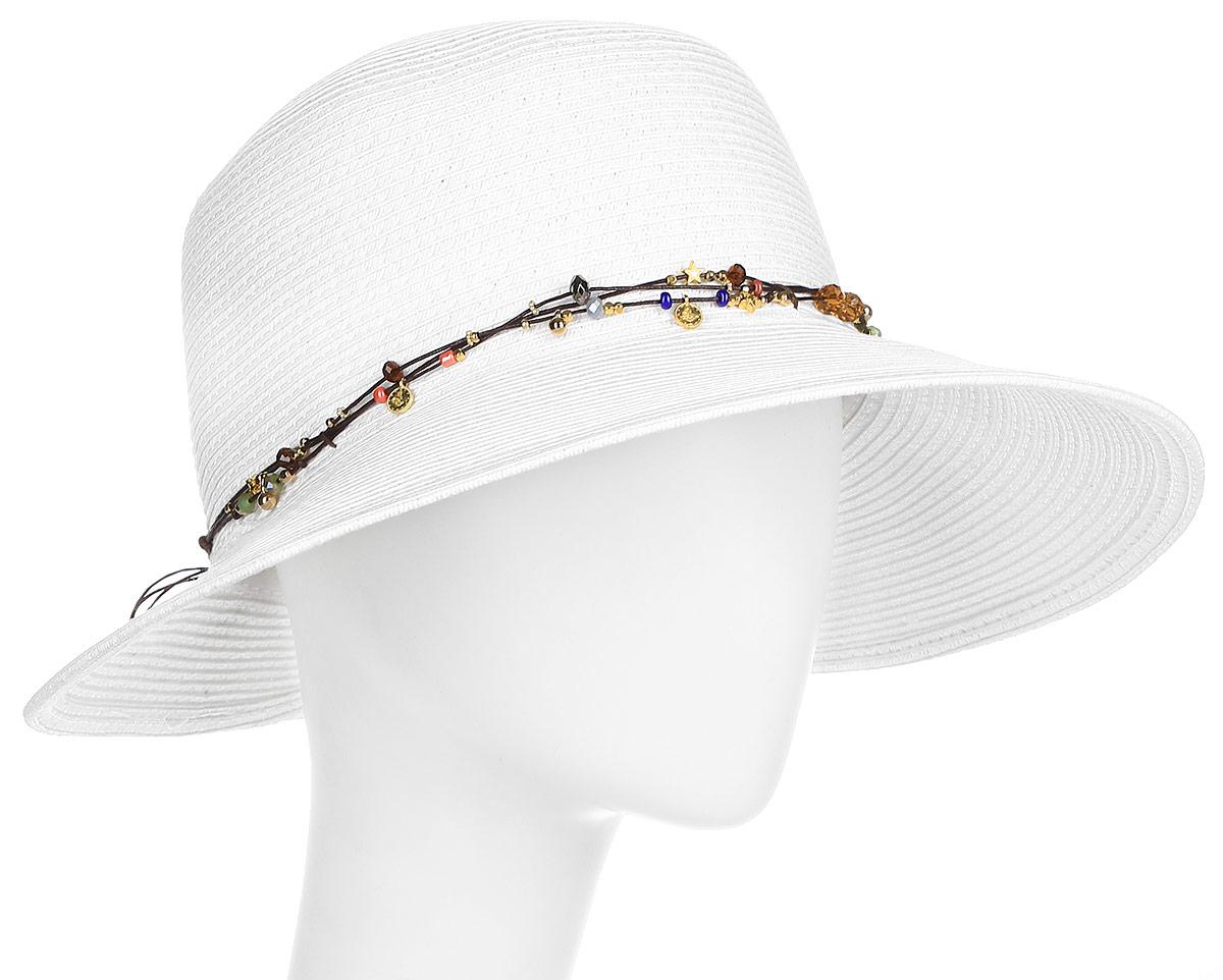Шляпа женская Fabretti, цвет: белый. G18-4. Размер универсальныйG18-4 WHITEЖенская шляпа Fabretti изготовлена из плотной целлюлозы. Модель оформлена тремя нитками контрастного цвета с нанизанными бусинами и цветным декором. Нити завязываются сзади шляпы. Стильная шляпа для пляжного отдыха и прогулок в солнечные дни.