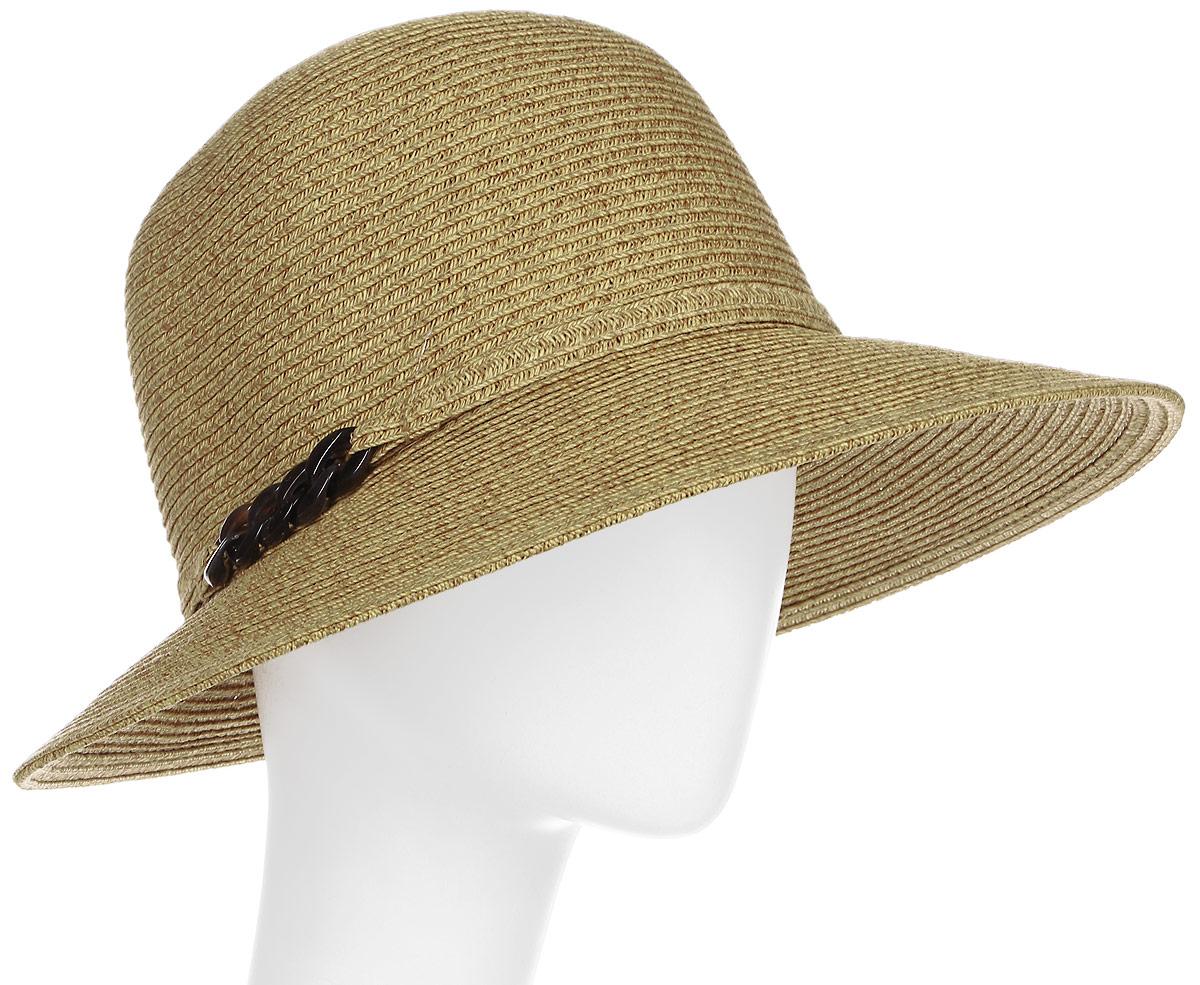 Шляпа женская Fabretti, цвет: бежевый. G23-3. Размер универсальныйG23-3 BEIGEЖенская шляпа Fabretti изготовлена из качественной целлюлозы. Модель оформлена кантом с крупной цепочкой из блестящего пластика. Стильная шляпа для пляжного отдыха и прогулок в солнечные дни.