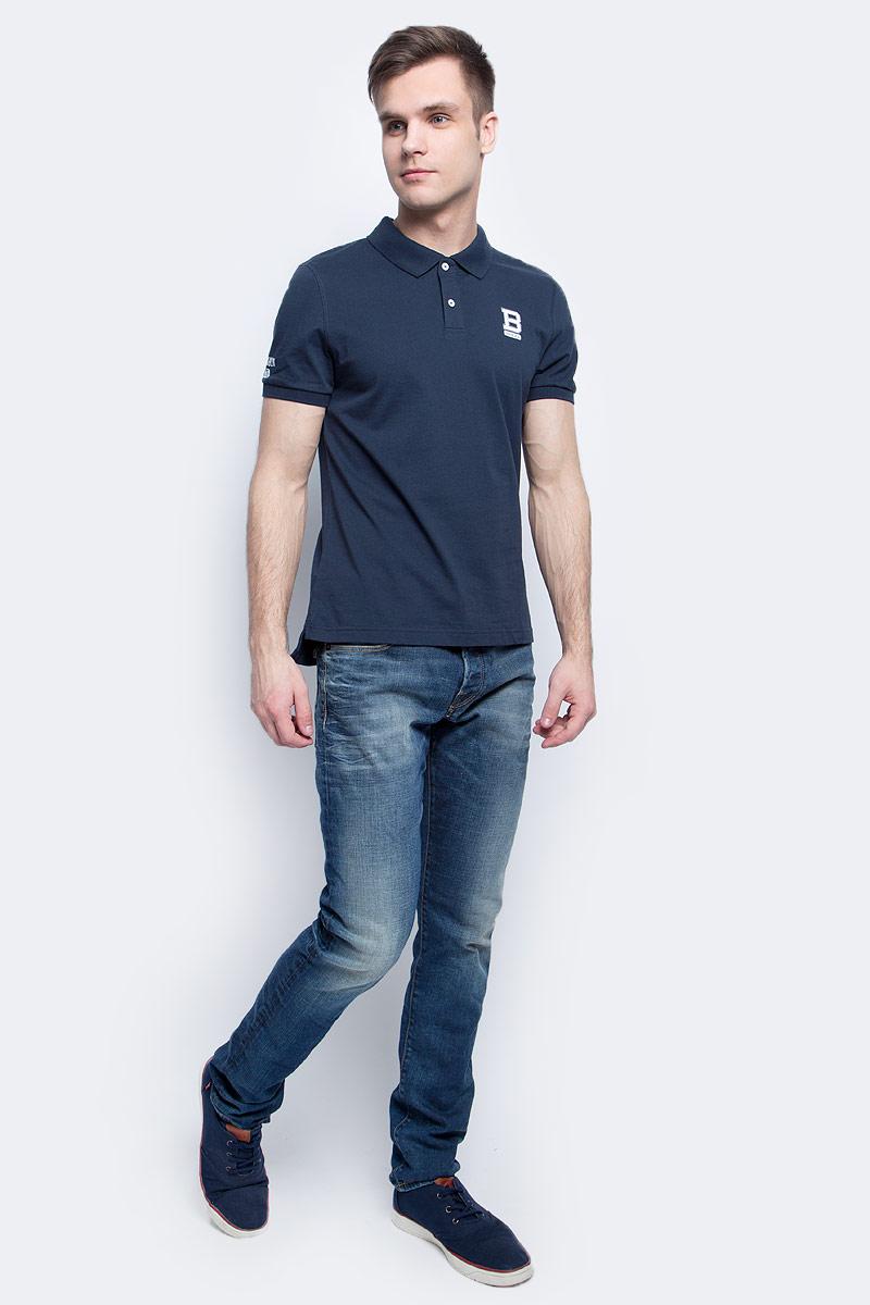 Поло мужское Baon, цвет: синий. B707015_Deep Navy. Размер L (50)B707015_Deep NavyПоло мужское Baon выполнено из натурального хлопка. Модель с отложным воротником и короткими рукавами застегивается на пуговицы.