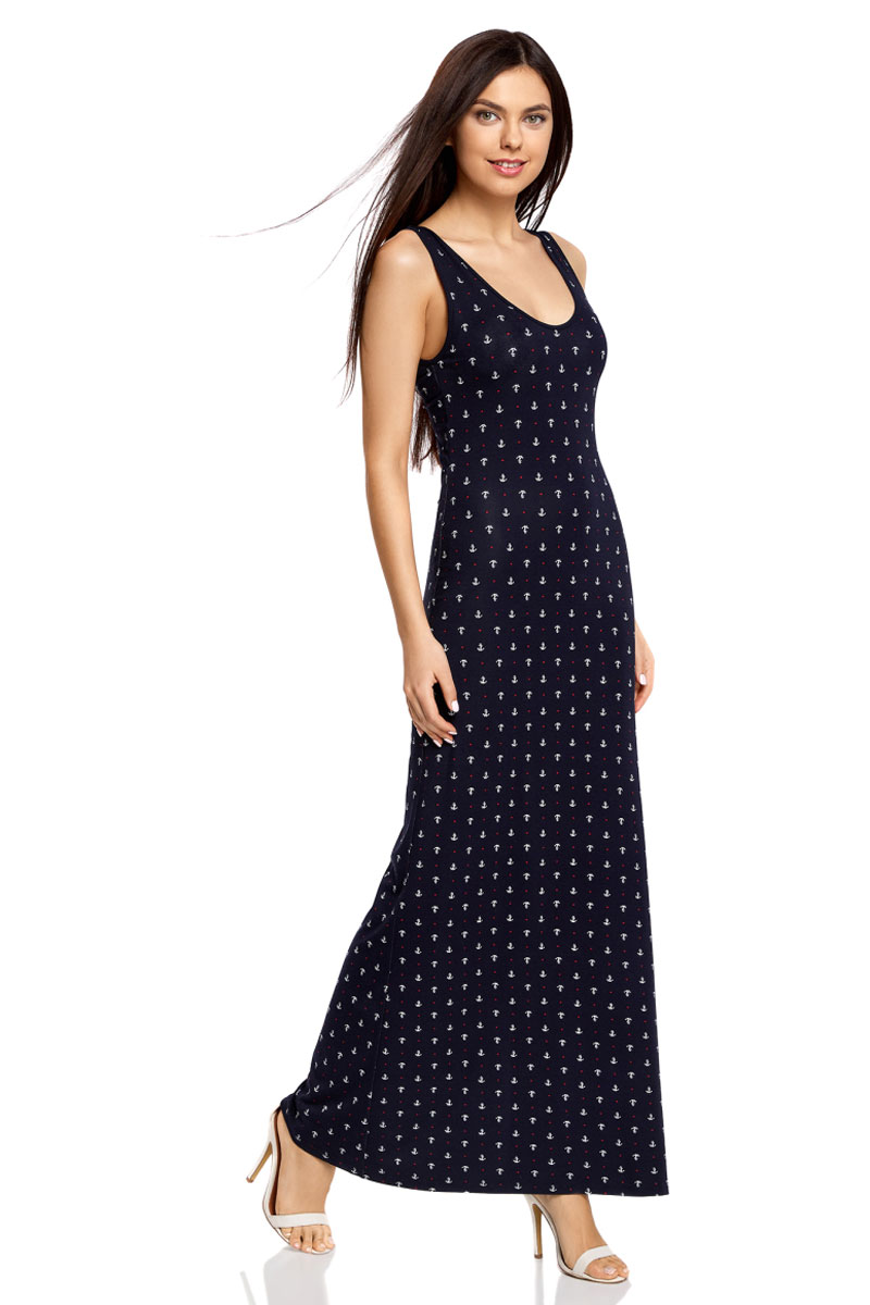 Платье oodji Ultra, цвет: темно-синий, белый. 14005127-1/42626/7910Q. Размер XXS (40)14005127-1/42626/7910QЛегкое обтягивающее платье oodji Ultra - модное решение для жарких летних будней. Модель макси-длины с открытыми плечами и глубоким вырезом горловины выполнена из эластичной вискозы и дополнена фигурным разрезом на спинке.