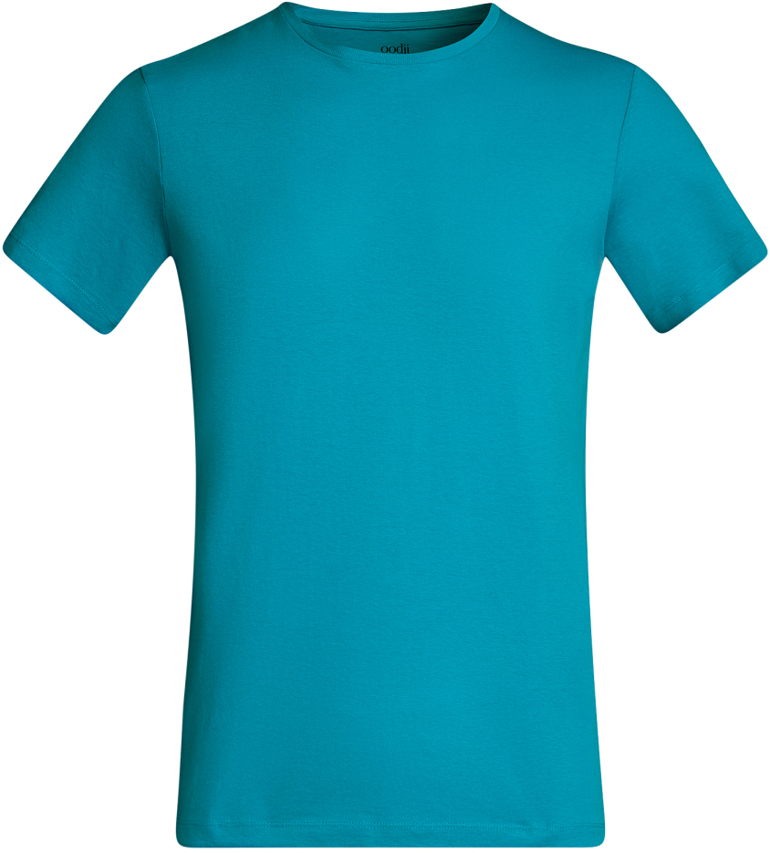 Футболка мужская oodji Basic, цвет: бирюзовый. 5B611003M/44135N/7300N. Размер XS (44)5B611003M/44135N/7300NКомфортная мужская футболка от oodji с короткими рукавами и круглым вырезом горловины выполнена из натурального хлопка.