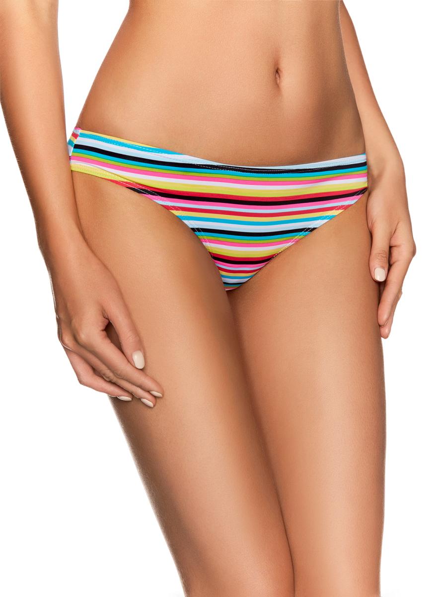 Купальные плавки женские oodji Ultra, цвет: сиреневый, бирюзовый. 04029/42726/8073S. Размер 34 (40)04029/42726/8073SЖенские купальные трусики в полоску выполнены из полиамида, благодаря чему они быстро сохнут.