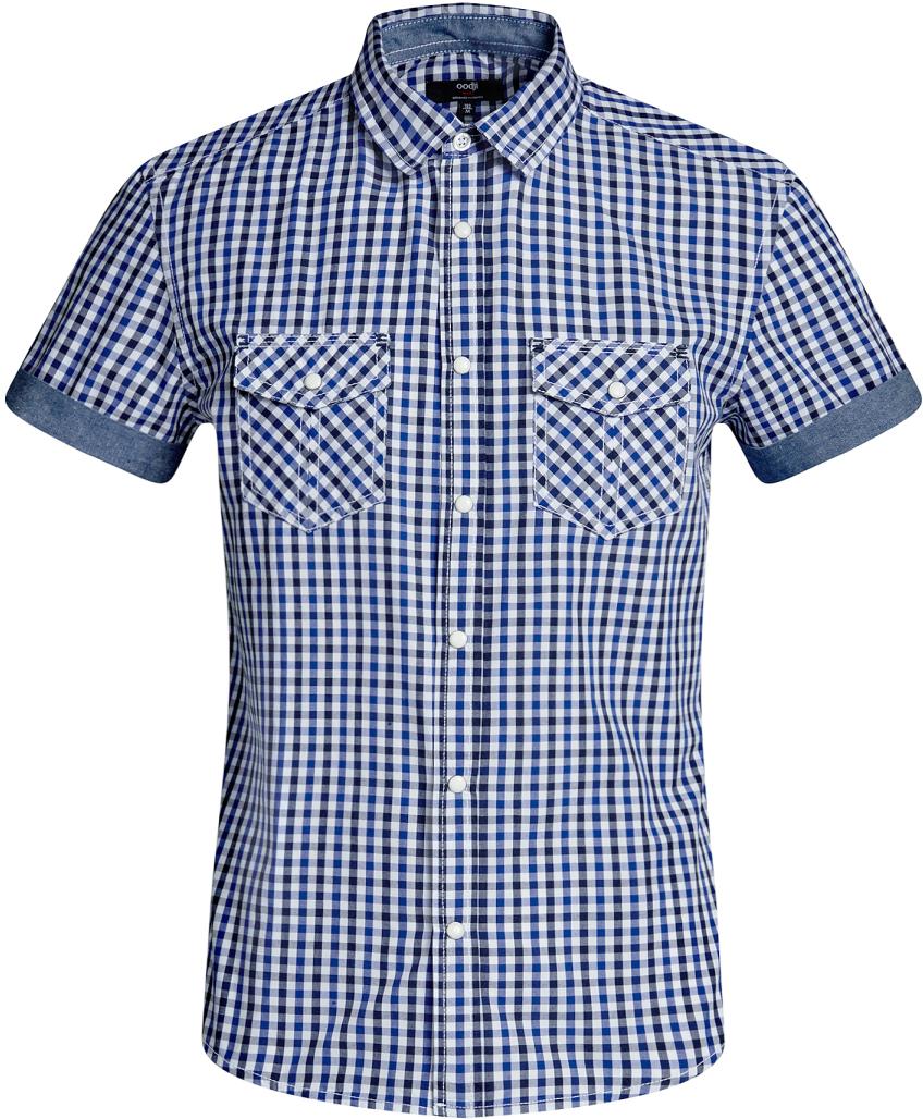 Рубашка мужская oodji Lab, цвет: белый, темно-синий. 3L410105M/34319N/1079C. Размер XL-182 (56-182)3L410105M/34319N/1079CМужская рубашка от oodji выполнена из натурального хлопка. Модель приталенного кроя с короткими рукавами застегивается на кнопки.