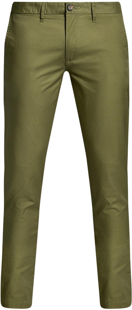 Брюки мужские oodji Lab, цвет: хаки, темно-зеленый. 2L150100M/46645N/6669G. Размер 38-182 (46-182)2L150100M/46645N/6669GМужские брюки oodji Lab выполнены из высококачественного материала. Модель-чинос стандартной посадки застегивается на пуговицу в поясе и ширинку на застежке-молнии. Пояс имеет шлевки для ремня. Спереди брюки дополнены втачными карманами, сзади - прорезными на пуговицах.