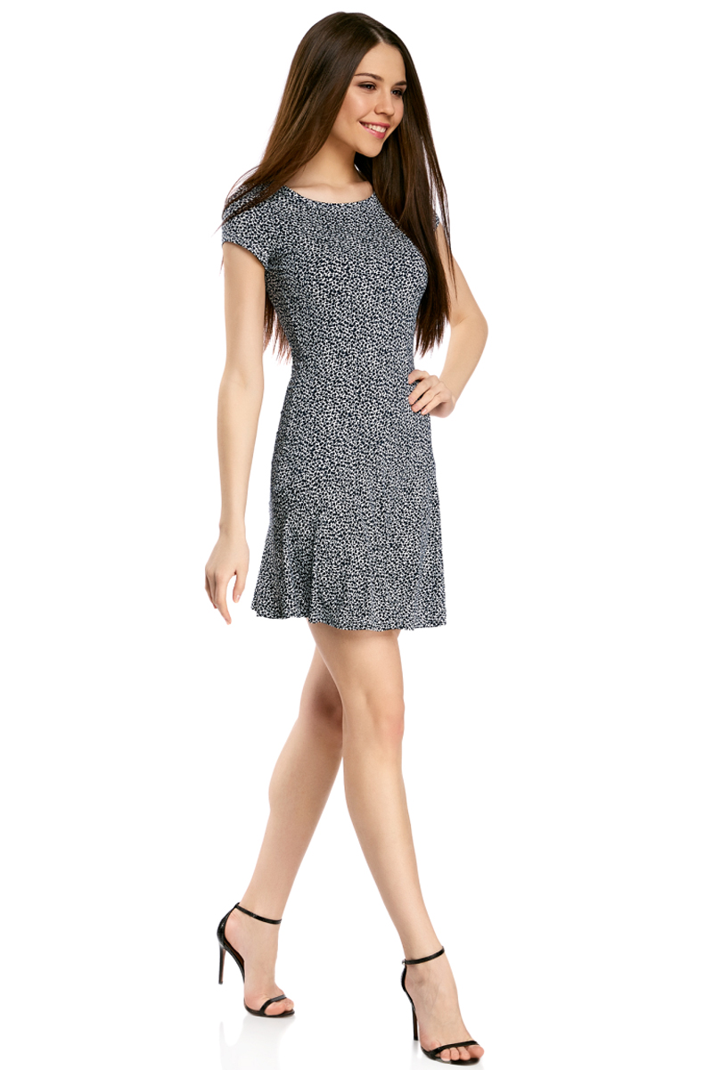 Платье oodji Ultra, цвет: белый, темно-синий. 14011017/46384/1079F. Размер XXS (40)14011017/46384/1079FПриталенное платье oodji Ultra с юбкой-воланами выполнено из качественного трикотажа. Модель средней длины с круглым вырезом горловины и короткими рукавами выгодно подчеркнет достоинства фигуры.