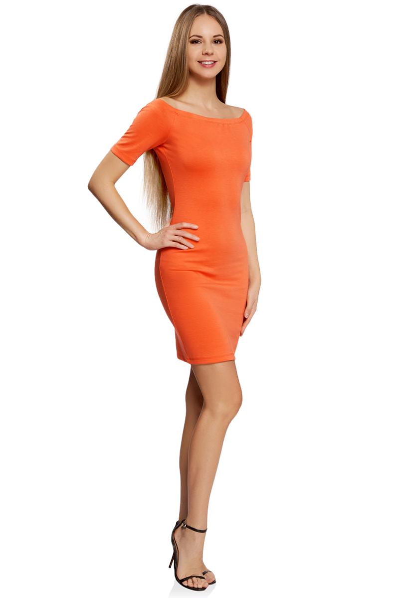 Платье oodji Ultra, цвет: оранжевый. 14007026-1/37809/5500N. Размер L (48)14007026-1/37809/5500NСтильное обтягивающее платье oodji Ultra - отличный вариант для работы и неофициальных мероприятий. Модель средней длины выполнена из эластичного трикотажа. Платье с вырезом-лодочкой и короткими рукавами выгодно подчеркнет достоинства фигуры.