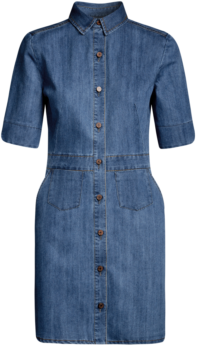 Платье oodji Ultra, цвет: синий. 12909051/18361/7500W. Размер 44-170 (50-170)12909051/18361/7500WДжинсовое платьеoodji Ultra - стильное и модное решение на каждый день. Модель мини-длины с рукавами до локтя и отложным воротничком спереди застегивается на пуговицы по всей длине. Изделие дополнено вшитым поясом и двумя накладными карманами на юбке.