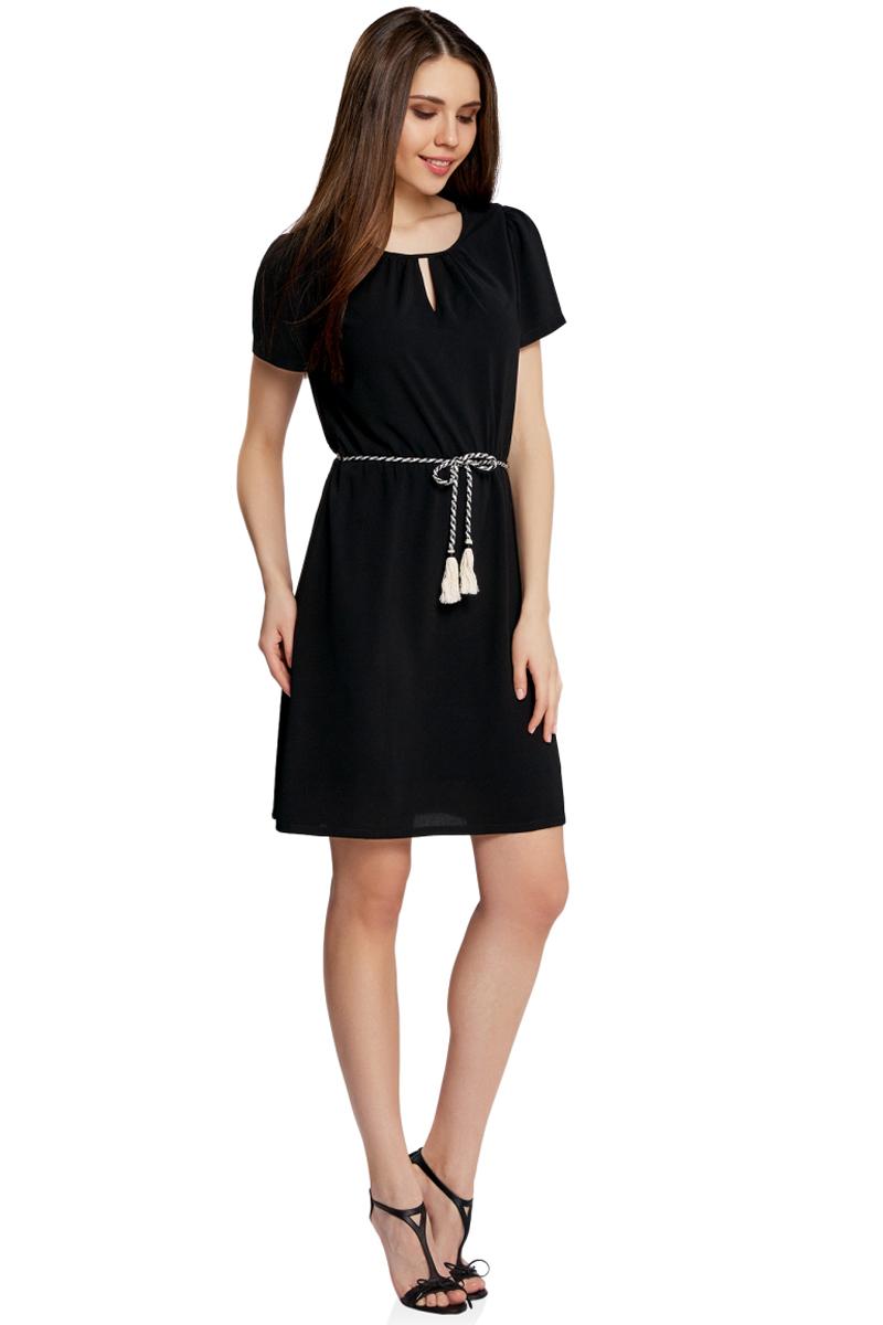 Платье oodji Ultra, цвет: черный. 11913043/46633/2900N. Размер 36-170 (42-170)11913043/46633/2900NЯркое приталенное платье oodji Ultra, выполненное из качественного трикотажа, - модное решение на каждый день. Модель средней длины, выгодно подчеркивающая достоинства фигуры, оформлена вырезами-капельками на горловине и спинке. На талии изделие дополнено вшитой резинкой для лучшей посадки по фигуре. Застегивается платье на пуговку на спинке. В комплект с платьемвходит поясок-шнурок в тон.