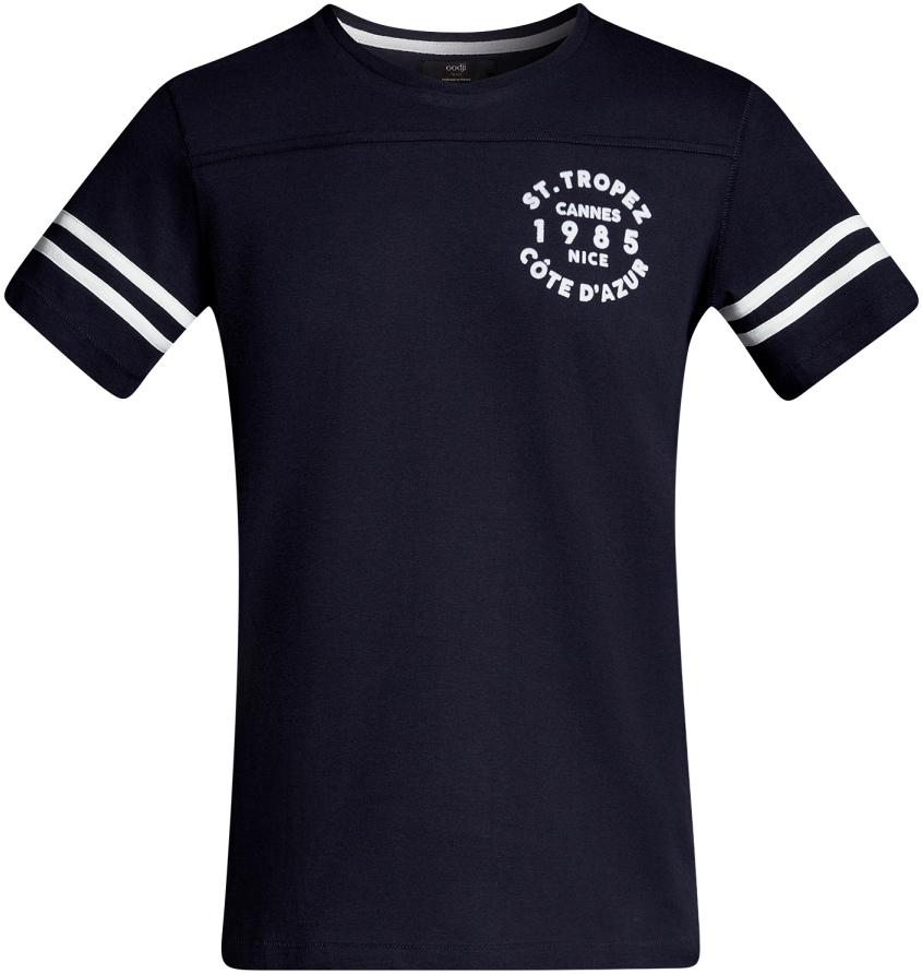 Футболка мужская oodji Lab, цвет: темно-синий, белый. 5L611343M/44135N/7912B. Размер S (46/48)5L611343M/44135N/7912BМужская футболка с круглым вырезом горловины и короткими рукавами выполнена из натурального хлопка. На рукавах контрастные полоски.