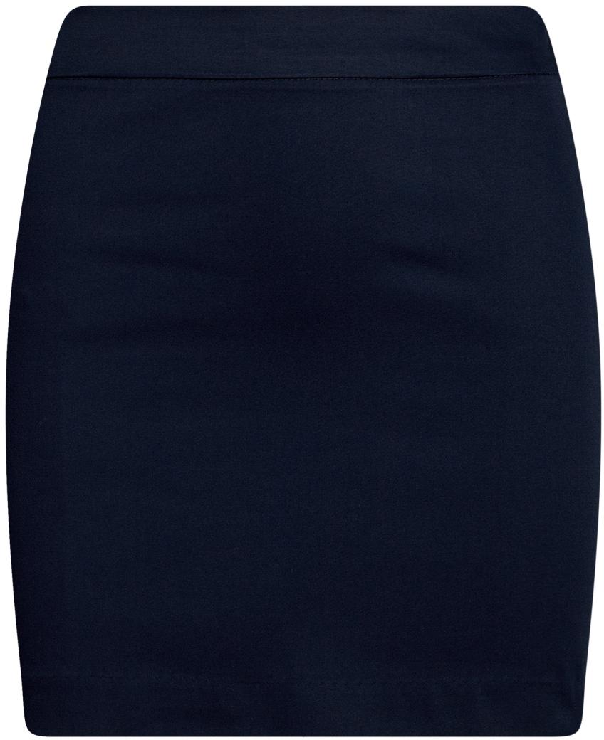 Юбка oodji Ultra, цвет: темно-синий. 11601179-11B/42307/7900N. Размер 44-170 (50-170)11601179-11B/42307/7900NЮбка мини из хлопковой ткани