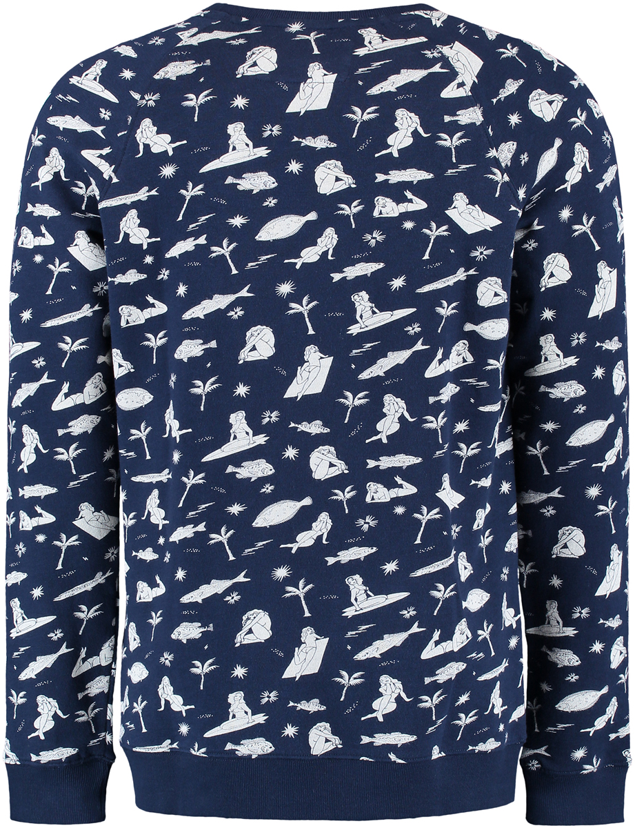 Свитшот мужской ONeill Lm Fish & Chicks Sweatshirt, цвет: синий. 7A1414-5910. Размер M (48/50)7A1414-5910Мужской свитшот ONeill выполнен из 100% хлопка. Модель имеет стандартный крой, длинный рукав и круглый вырез горловины. Манжеты рукавов, горловина и низ изделия отделаны эластичным материалом в рубчик. Свитшот дополнен оригинальным сплошным принтом.