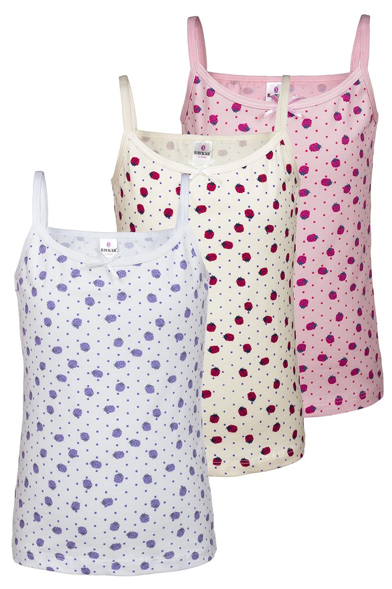 Майка для девочки Baykar, цвет: молочный, белый, розовый, мультиколор, 3 шт. N4384-22. Размер 146/152N4384-22