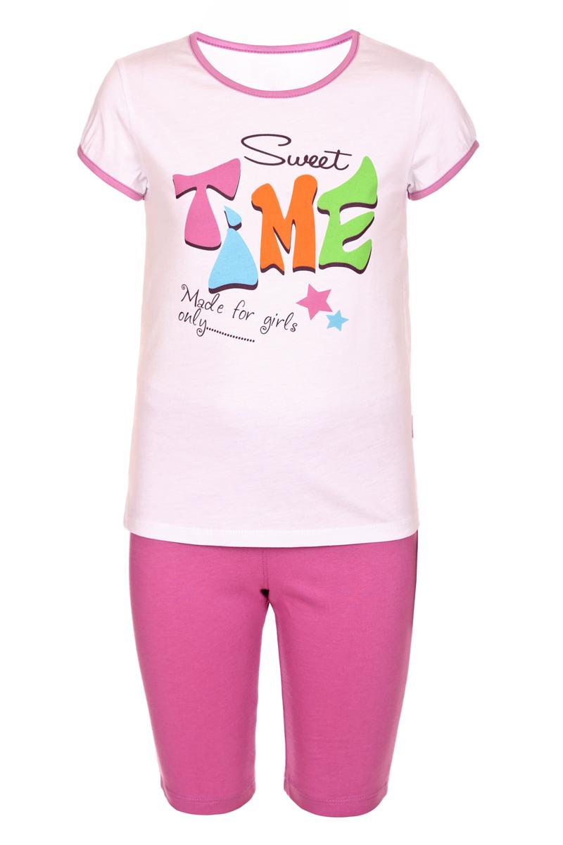 Пижама для девочки БЕМБІ, цвет: розовый, мультиколор. ПЖ45С0112. Размер 116ПЖ45С0112Пижама для девочки БЕМБІ, выполненная из натурального хлопка, идеально подойдет маленькой принцессе для сна и отдыха. Материал изделия мягкий, тактильно приятный, не сковывает движения, хорошо пропускает воздух. Пижама состоит из футболки и бридж. Футболка с короткими рукавами и круглым вырезом горловины оформлена крупным оригинальным принтом. Бриджи имеют на талии мягкую широкую резинку, благодаря чему они не сдавливают животик ребенка и не сползают. Высокое качество исполнения и дизайн принесут удовольствие от покупки и подарят отличное настроение!