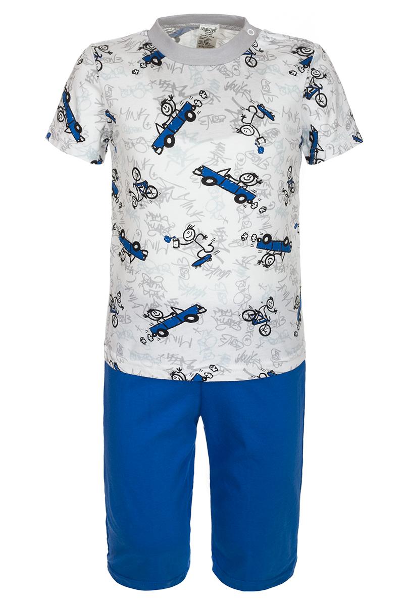 Пижама для мальчика БЕМБІ, цвет: белый, синий, серый. ПЖ38С01. Размер 86ПЖ38С01Пижама для мальчика БЕМБІ, выполненная из натурального хлопка, идеально подойдет для сна и отдыха. Материал изделия мягкий, тактильно приятный, не сковывает движения, хорошо пропускает воздух. Пижама состоит из футболки и шорт. Футболка с короткими рукавами и круглым вырезом оформлена оригинальным принтом и застегивается на кнопки около горловины. Шорты имеют на талии мягкую широкую резинку, благодаря чему они не сдавливают животик ребенка и не сползают.
