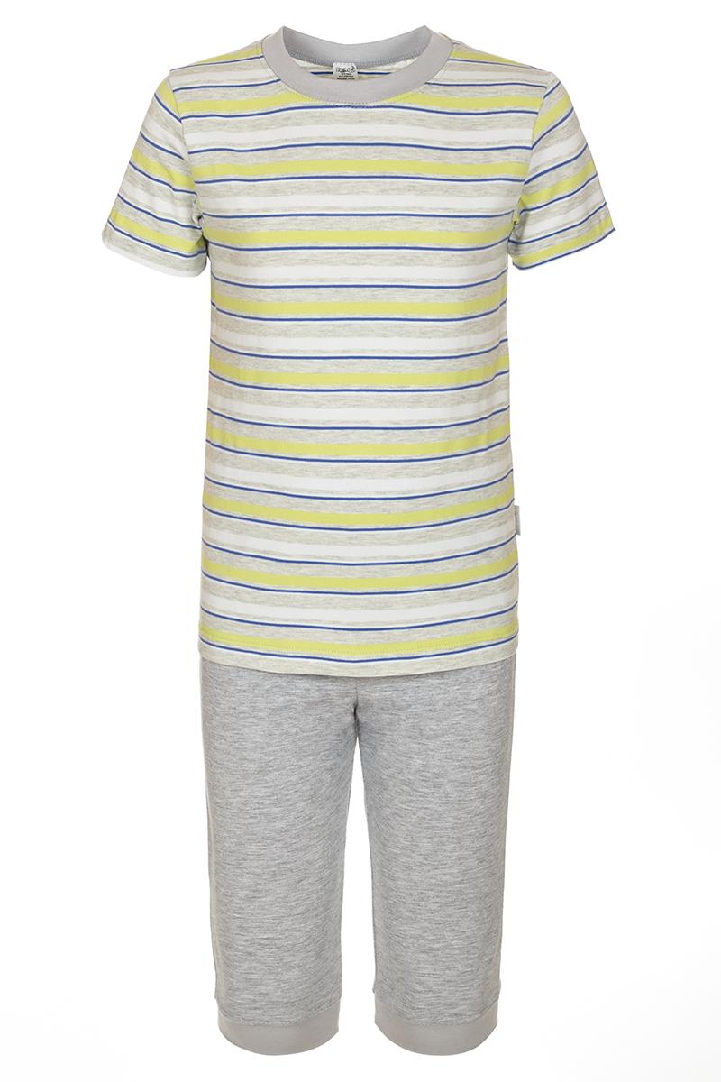Пижама для мальчика БЕМБІ, цвет: светло-серый, желтый. ПЖ44С0154. Размер 122ПЖ44С0154Пижама для мальчика БЕМБІ, выполненная из натурального хлопка, идеально подойдет для сна и отдыха. Материал изделия мягкий, тактильно приятный, не сковывает движения, хорошо пропускает воздух. Пижама состоит из футболки и бридж. Футболка с короткими рукавами и круглым вырезом горловины оформлена принтом в полоску. Бриджы имеют на талии мягкую широкую резинку, благодаря чему они не сдавливают животик ребенка и не сползают.