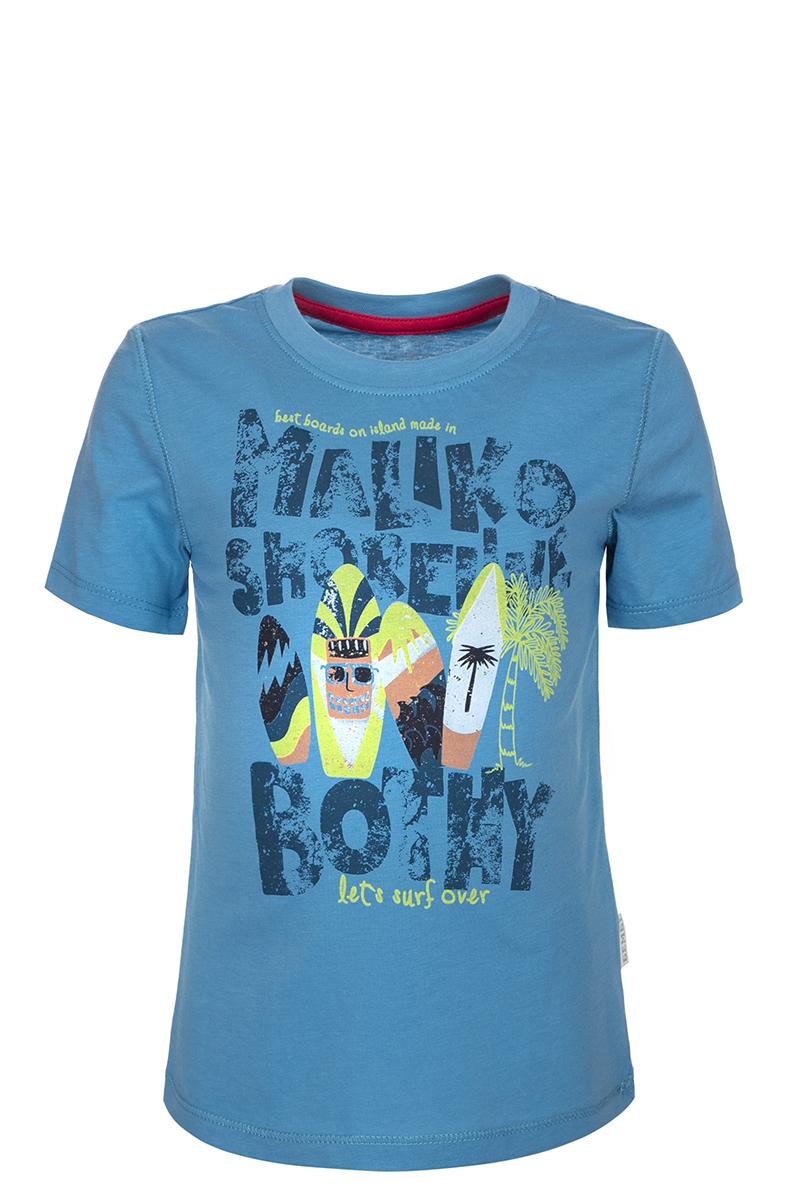 Футболка для мальчика БЕМБІ, цвет: темно-голубой. ФБ388С0111. Размер 98ФБ388С0111Детская футболка БЕМБІ изготовлена из натурального хлопка. Модель выполнена с круглым вырезом горловины и короткими рукавами. Крупный принт на груди придает изделию оригинальность.