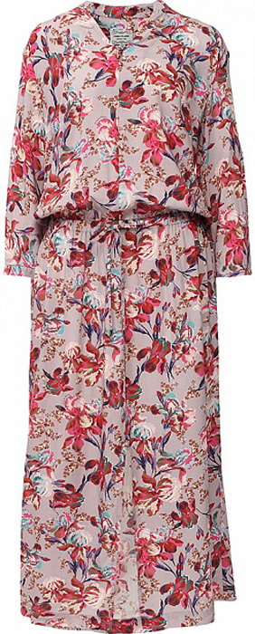Платье Finn Flare, цвет: серо-розовый. S17-11068_824. Размер L (48)S17-11068_824Платье Finn Flare выполнено из вискозы. Модель с длинными рукавами оформлена цветочным принтом.