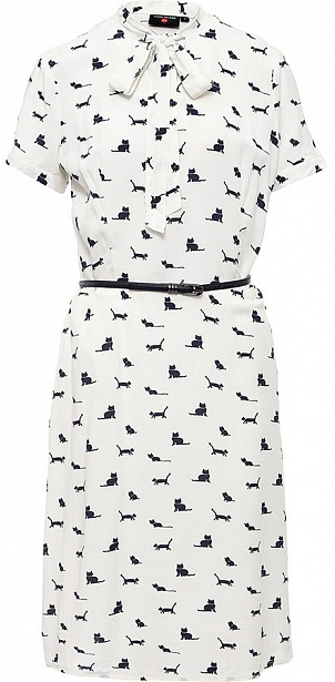 Платье Finn Flare, цвет: молочный. S17-32025_711. Размер L (48)S17-32025_711Платье Finn Flare выполнено из вискозы. Модель с короткими рукавами оформлена оригинальным принтом.