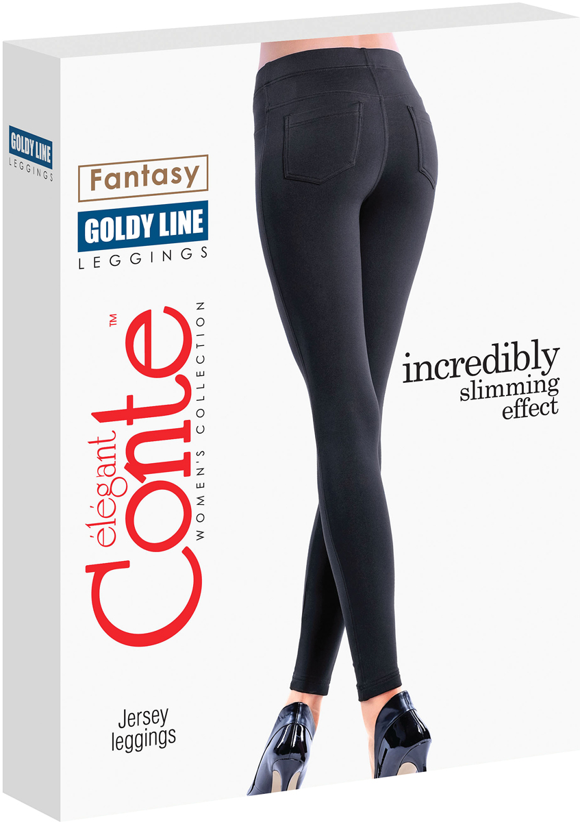 Леггинсы женские Conte Elegant Goldy Line, цвет: Black (черный). Размер 44-170Goldy LineТонкие облегающие леггинсы из трикотажного полотна с моделирующим эффектом с боковыми швами. По спинке изделия кокетки и накладные карманы.