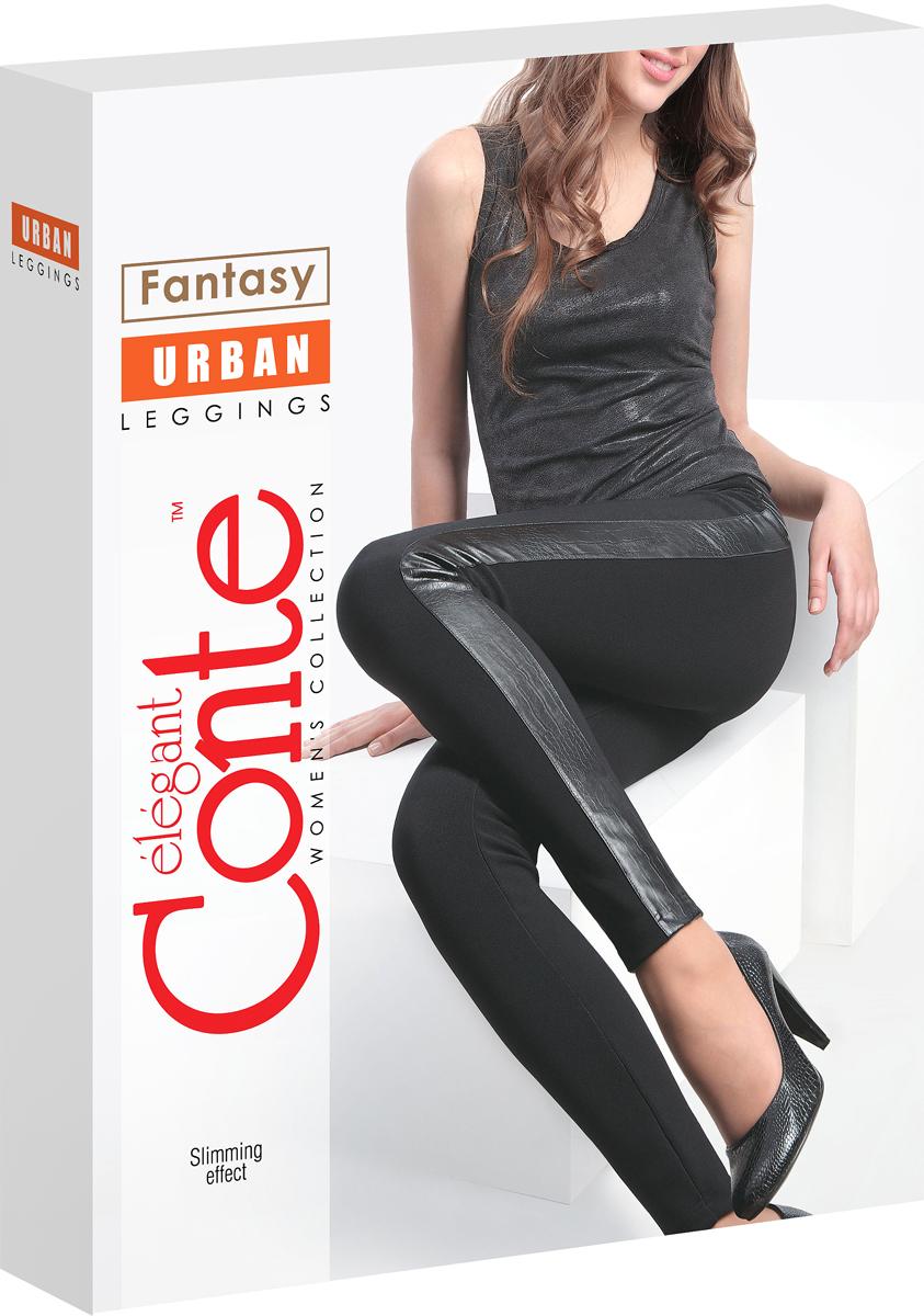 Леггинсы женские Conte Elegant Urban, цвет: Nero (черный). Размер 48-170UrbanПлотные леггинсы из эластичного полотна с утягивающим эффектом с боковыми кожаными вставками.