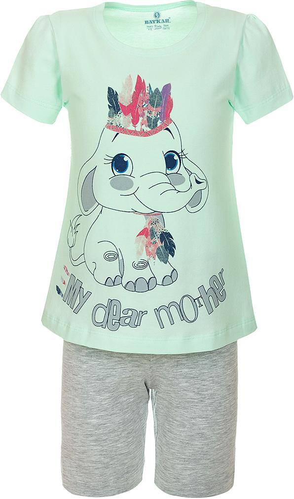 Пижама для девочки Baykar, цвет: зеленый, мультиколор. N9311240A-13. Размер 104/110N9311240A-13Пижама для девочки Baykar, выполненная из эластичного хлопка, идеально подойдет маленькой принцессе для сна и отдыха. Материал изделия мягкий, тактильно приятный, не сковывает движения, хорошо пропускает воздух. Пижама состоит из футболки с коротким рукавом и шортиков. Футболка с короткими рукавами и круглым вырезом горловины украшена ярким принтом.Шортики имеют на талии мягкую резинку, благодаря чему они не сдавливают животик ребенка и не сползают.Высокое качество исполнения и дизайн принесут удовольствие от покупки и подарят отличное настроение!