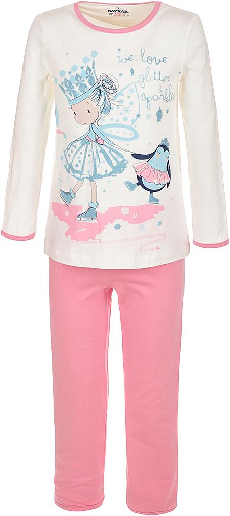 Пижама для девочки Baykar, цвет: молочный, мультиколор. N9001208A-17. Размер 104/110N9001208A-17Мягкая пижама для девочки Baykar, состоящая из футболки с длинным рукавом и брюк, идеально подойдет ребенку для отдыха и сна. Модель выполнена из эластичного хлопка, очень приятная к телу, не сковывает движения, хорошо пропускает воздух. Футболка с круглым вырезом горловины и длинными рукавами оформлена забавным принтом.Брюки на талии имеют мягкую резинку, благодаря чему они не сдавливают животик ребенка и не сползают.В такой пижаме ребенок будет чувствовать себя комфортно и уютно!