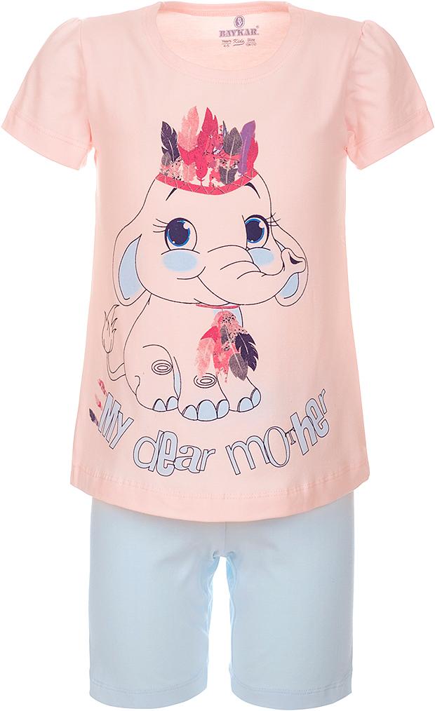 Пижама для девочки Baykar, цвет: розовый, мультиколор. N9311248A-5. Размер 110/116N9311248A-5Пижама для девочки Baykar, выполненная из эластичного хлопка, идеально подойдет маленькой принцессе для сна и отдыха. Материал изделия мягкий, тактильно приятный, не сковывает движения, хорошо пропускает воздух. Пижама состоит из футболки с коротким рукавом и коротких брюк. Футболка с короткими рукавами и круглым вырезом горловины украшена ярким принтом.Брюки прямого кроя имеют на талии мягкую широкую резинку, благодаря чему они не сдавливают животик ребенка и не сползают.Высокое качество исполнения и дизайн принесут удовольствие от покупки и подарят отличное настроение!