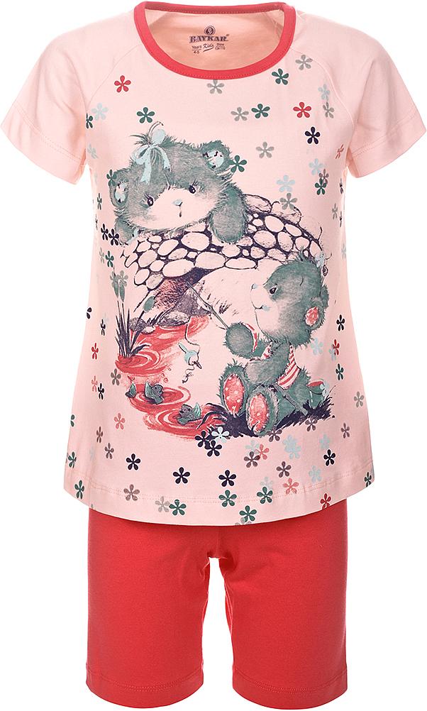 Пижама для девочки Baykar, цвет: розовый, мультиколор. N9313248A-5. Размер 104/110N9313248A-5Пижама для девочки Baykar, выполненная из эластичного хлопка, идеально подойдет маленькой принцессе для сна и отдыха. Материал изделия мягкий, тактильно приятный, не сковывает движения, хорошо пропускает воздух. Пижама состоит из футболки с коротким рукавом и коротких брюк. Футболка с короткими рукавами и круглым вырезом горловины украшена ярким принтом.Брюки прямого кроя имеют на талии мягкую широкую резинку, благодаря чему они не сдавливают животик ребенка и не сползают.Высокое качество исполнения и дизайн принесут удовольствие от покупки и подарят отличное настроение!