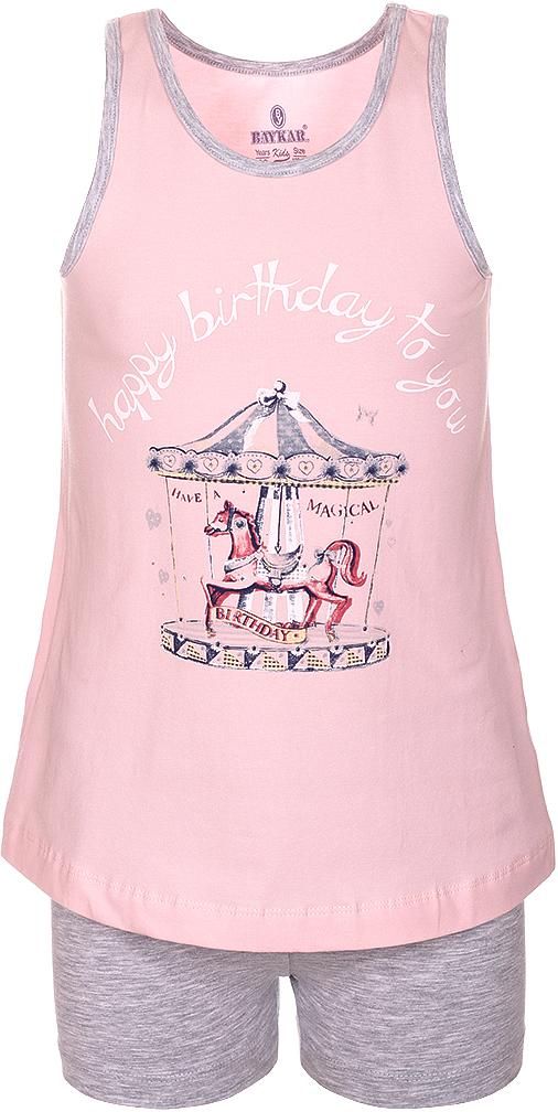 Пижама для девочки Baykar, цвет: розовый, мультиколор. N9316148B-5. Размер 128/134N9316148B-5Пижама для девочки Baykar состоит из футболки без рукавов и шорт. Пижама выполнена из эластичного хлопка, мягкая и приятная к телу, не сковывает движения, хорошо пропускает воздух.Футболка с круглым вырезом горловины оформлена забавным принтом. Шорты на талии имеют мягкую резинку, благодаря чему они не сдавливают животик ребенка и не сползают.В такой пижаме маленькая принцесса будет чувствовать себя комфортно и уютно во время отдыха и сна!