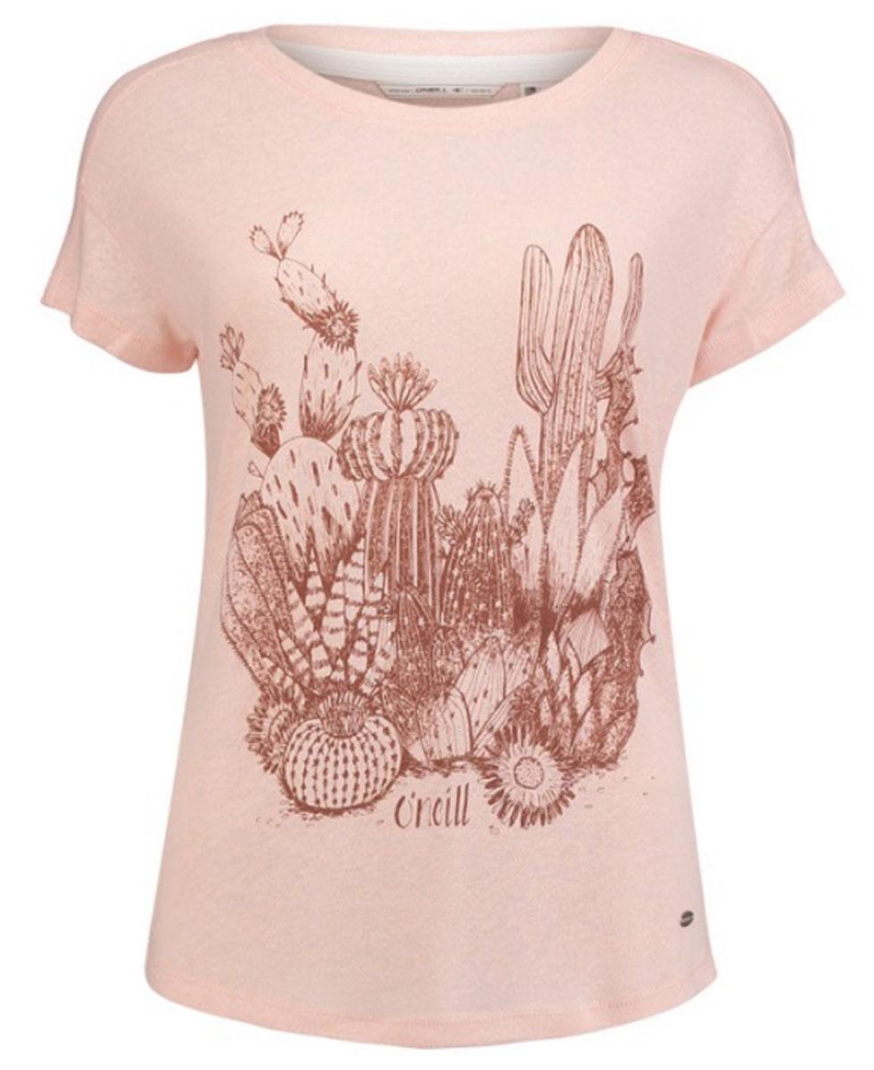 Футболка женская ONeill Lw Cali Nature T-Shirt, цвет: розовый. 7A8645-4075. Размер M (46/48)7A8645-4075Легкая женская футболка ONeill выполнена из вискозы с добавлением льна. Модель имеет стандартную посадку, короткий рукав со спущенным швом и круглый вырез горловины. Футболка дополнена оригинальным рисунком.