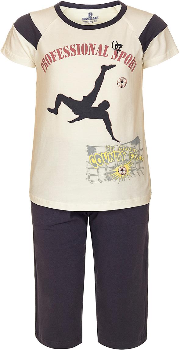 Пижама для мальчика Baykar, цвет: молочный, мультиколор. N9612208B-17. Размер 134/140N9612208B-17Яркая пижама для мальчика Baykar, состоящая из футболки и шортиков, идеально подойдет вашему малышу и станет отличным дополнением к детскому гардеробу. Пижама, изготовленная из натурального хлопка, необычайно мягкая и легкая, не сковывает движения ребенка, позволяет коже дышать и не раздражает даже самую нежную и чувствительную кожу малыша. Футболка с короткими рукавами и круглым вырезом горловины спереди декорирована принтом. Шортики прямого кроя однотонного цвета на широкой эластичной резинке не сдавливают животик ребенка и не сползают.В такой пижаме ваш маленький непоседа будет чувствовать себя комфортно и уютно во время сна.
