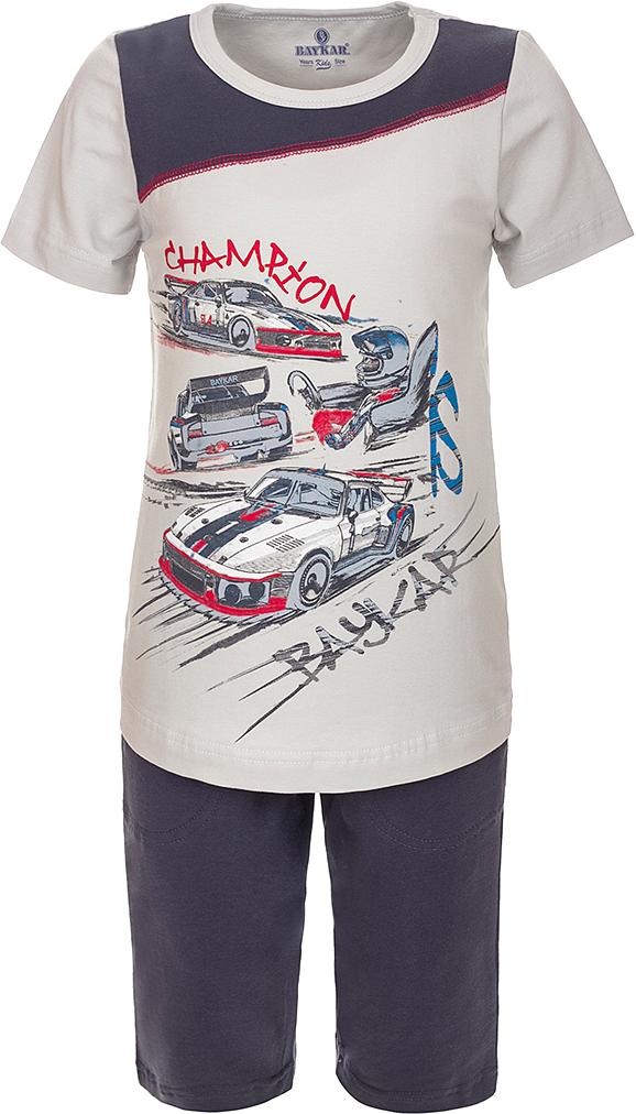 Пижама для мальчика Baykar, цвет: серый, мультиколор. N9603223A-20. Размер 104/110N9603223A-20Яркая пижама для мальчика Baykar, состоящая из футболки и шортиков, идеально подойдет вашему малышу и станет отличным дополнением к детскому гардеробу. Пижама, изготовленная из натурального хлопка, необычайно мягкая и легкая, не сковывает движения ребенка, позволяет коже дышать и не раздражает даже самую нежную и чувствительную кожу малыша. Футболка с короткими рукавами и круглым вырезом горловины спереди декорирована принтом. Шортики прямого кроя однотонного цвета на широкой эластичной резинке не сдавливают животик ребенка и не сползают.В такой пижаме ваш маленький непоседа будет чувствовать себя комфортно и уютно во время сна.