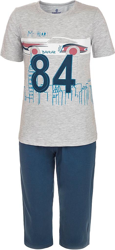 Пижама для мальчика Baykar, цвет: серый, мультиколор. N9615220B-20. Размер 140/146N9615220B-20Яркая пижама для мальчика Baykar, состоящая из футболки и шортиков, идеально подойдет вашему малышу и станет отличным дополнением к детскому гардеробу. Пижама, изготовленная из натурального хлопка, необычайно мягкая и легкая, не сковывает движения ребенка, позволяет коже дышать и не раздражает даже самую нежную и чувствительную кожу малыша. Футболка с короткими рукавами и круглым вырезом горловины спереди декорирована принтом. Шортики прямого кроя однотонного цвета на широкой эластичной резинке не сдавливают животик ребенка и не сползают.В такой пижаме ваш маленький непоседа будет чувствовать себя комфортно и уютно во время сна.
