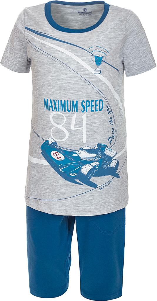Пижама для мальчика Baykar, цвет: синий, мультиколор. N9611207A-9. Размер 116/122N9611207A-9Яркая пижама для мальчика Baykar, состоящая из футболки и шортиков, идеально подойдет вашему малышу и станет отличным дополнением к детскому гардеробу. Пижама, изготовленная из натурального хлопка, необычайно мягкая и легкая, не сковывает движения ребенка, позволяет коже дышать и не раздражает даже самую нежную и чувствительную кожу малыша. Футболка с короткими рукавами и круглым вырезом горловины спереди декорирована принтом. Шортики прямого кроя однотонного цвета на широкой эластичной резинке не сдавливают животик ребенка и не сползают.В такой пижаме ваш маленький непоседа будет чувствовать себя комфортно и уютно во время сна.