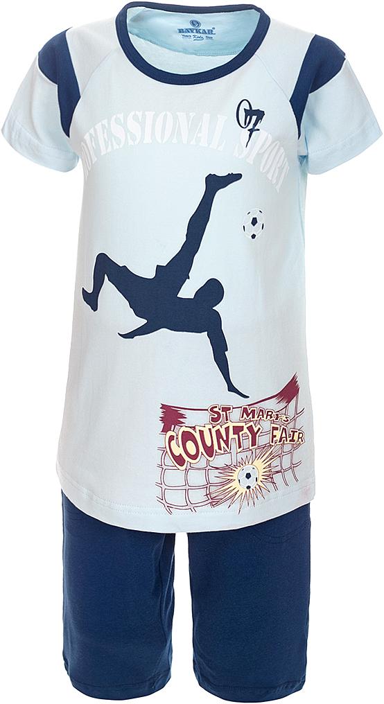 Пижама для мальчика Baykar, цвет: синий, мультиколор. N9612207A-9. Размер 98/104N9612207A-9Яркая пижама для мальчика Baykar, состоящая из футболки и шортиков, идеально подойдет вашему малышу и станет отличным дополнением к детскому гардеробу. Пижама, изготовленная из натурального хлопка, необычайно мягкая и легкая, не сковывает движения ребенка, позволяет коже дышать и не раздражает даже самую нежную и чувствительную кожу малыша. Футболка с короткими рукавами и круглым вырезом горловины спереди декорирована принтом. Шортики прямого кроя однотонного цвета на широкой эластичной резинке не сдавливают животик ребенка и не сползают.В такой пижаме ваш маленький непоседа будет чувствовать себя комфортно и уютно во время сна.