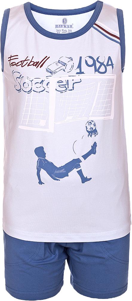 Пижама для мальчика Baykar, цвет: синий, мультиколор. N9614207B-9. Размер 128/134N9614207B-9Яркая пижама для мальчика Baykar, состоящая из футболки и шортиков, идеально подойдет вашему малышу и станет отличным дополнением к детскому гардеробу. Пижама, изготовленная из натурального хлопка, необычайно мягкая и легкая, не сковывает движения ребенка, позволяет коже дышать и не раздражает даже самую нежную и чувствительную кожу малыша. Футболка без рукавов и круглым вырезом горловины спереди декорирована принтом. Шортики прямого кроя однотонного цвета с карманами на широкой эластичной резинке не сдавливают животик ребенка и не сползают.В такой пижаме ваш маленький непоседа будет чувствовать себя комфортно и уютно во время сна.