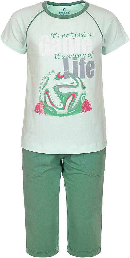 Пижама для мальчика Baykar, цвет: зеленый, мультиколор. N9608240A-13. Размер 116/122N9608240A-13Яркая пижама для мальчика Baykar, состоящая из футболки и шортиков, идеально подойдет вашему малышу и станет отличным дополнением к детскому гардеробу. Пижама, изготовленная из натурального хлопка, необычайно мягкая и легкая, не сковывает движения ребенка, позволяет коже дышать и не раздражает даже самую нежную и чувствительную кожу малыша. Футболка с короткими рукавами и круглым вырезом горловины спереди декорирована принтом. Шортики прямого кроя однотонного цвета на широкой эластичной резинке не сдавливают животик ребенка и не сползают.В такой пижаме ваш маленький непоседа будет чувствовать себя комфортно и уютно во время сна.