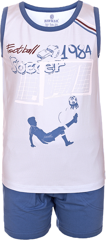 Пижама для мальчика Baykar, цвет: синий, мультиколор. N9614207A-9. Размер 98/104N9614207A-9Яркая пижама для мальчика Baykar, состоящая из футболки и шортиков, идеально подойдет вашему малышу и станет отличным дополнением к детскому гардеробу. Пижама, изготовленная из натурального хлопка, необычайно мягкая и легкая, не сковывает движения ребенка, позволяет коже дышать и не раздражает даже самую нежную и чувствительную кожу малыша. Футболка без рукавов и круглым вырезом горловины спереди декорирована принтом. Шортики прямого кроя однотонного цвета с карманами на широкой эластичной резинке не сдавливают животик ребенка и не сползают.В такой пижаме ваш маленький непоседа будет чувствовать себя комфортно и уютно во время сна.