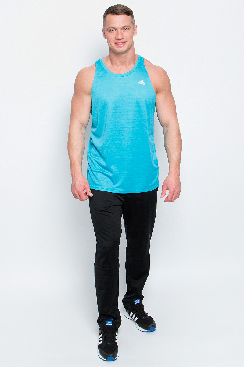 Майка для бега мужская adidas Rs Singlet, цвет: бирюзовый. BP7480. Размер S (44/46)BP7480Мужская спортивная майка Adidas Rs Singlet изготовлена из полиэстера с добавлением полиэфира по технологии climalite, что обеспечивает быстрое влагоотведение с поверхности тела. Модель с круглой горловиной декорирована принтом с логотипом и названием бренда и светоотражающими полосами на спинке.