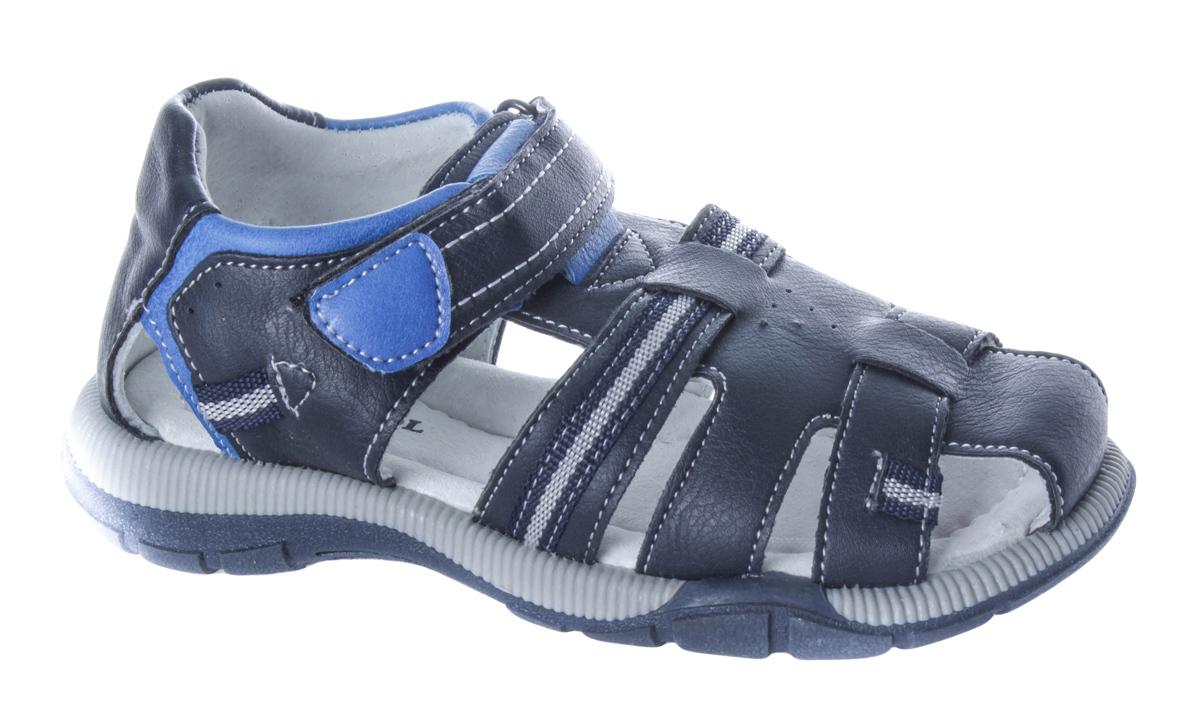 Сандалии для мальчика Patrol, цвет: темно-синий, синий. 992-396NK-17s-01-16. Размер 30992-396NK-17s-01-16Великолепные сандалии от Patrol придутся по душе вашему юному моднику. Модель с закрытой пяткой изготовлена из высококачественной искусственной кожи с контрастной прострочкой и декоративной тесьмой. Внутренняя поверхность и стелька выполнены из натуральной кожи. Стелька дополнена подсводником, который обеспечивает правильное положение ноги ребенка при ходьбе. Ремешок с застежкой-липучкой надежно фиксирует ногу ребенка. Подошва выполнена из прочного ТЭП-материала. Рифление на подошве гарантирует идеальное сцепление с поверхностью. Такие сандалии займут достойное место в гардеробе вашего ребенка.