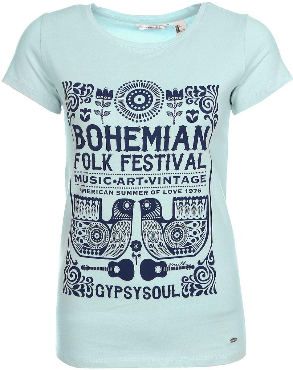 Футболка женская ONeill Lw Boho Festival T-Shirt, цвет: голубой. 7A7330-5057. Размер S (44/46)7A7330-5057Футболка женская ONeill выполнена из 100% хлопка. Модель имеет стандартный крой, короткий рукав и круглый вырез горловины. Футболка дополнена надписями в стиле бохо.