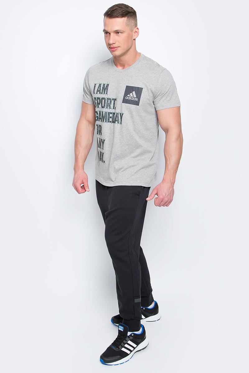 Футболка мужская adidas I Am Sport, цвет: серый. BK2811. Размер M (48/50)BK2811Футболка I Am Sport от adidas выполнена из хлопковой ткани. У модели круглый вырез горловины и короткие стандартные рукава. Спереди изделие декорировано принтом с надписью.