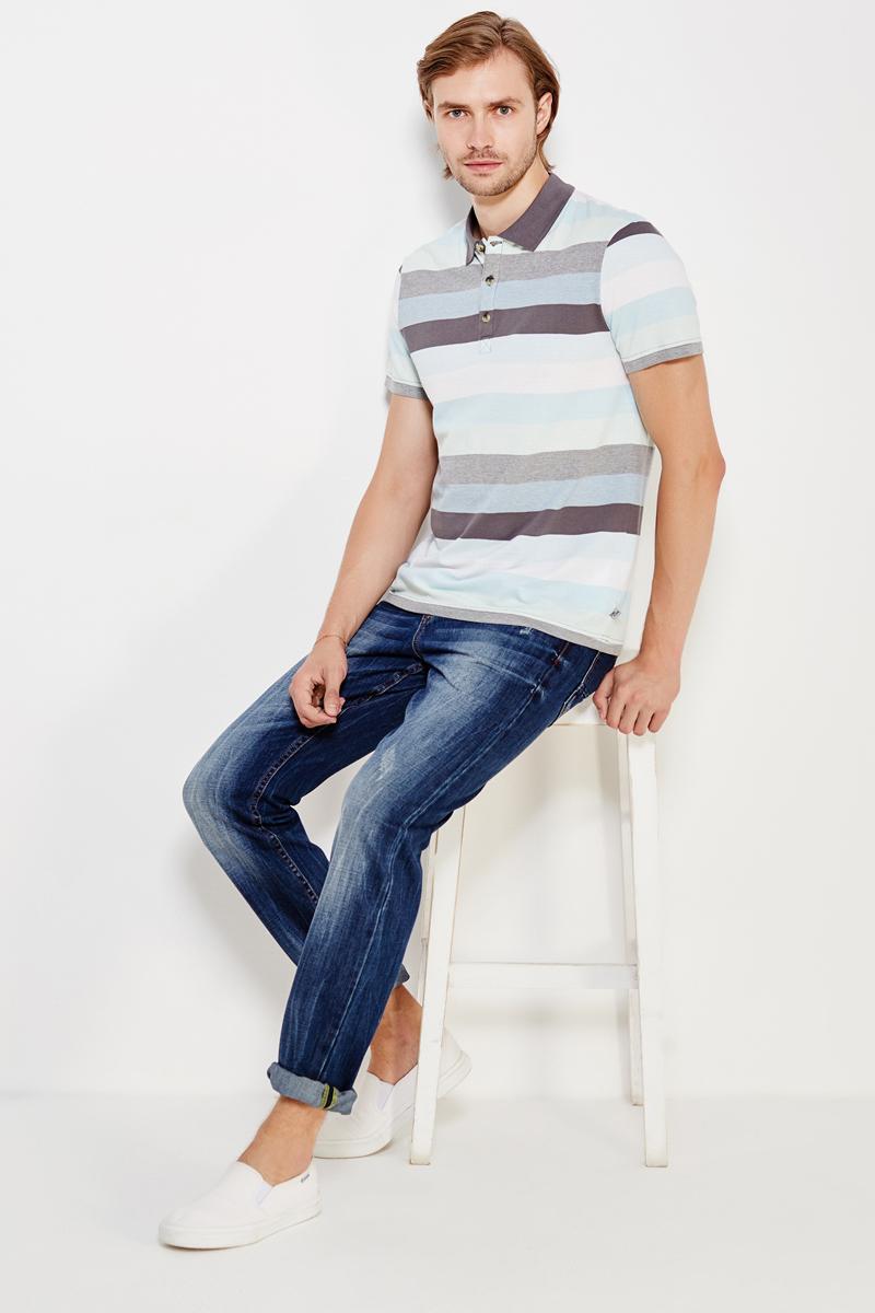 Поло мужское Finn Flare, цвет: темно-серый. S17-42024_202. Размер L (50)S17-42024_202Поло мужское Finn Flare выполнено из натурального хлопка. Модель с отложным воротником и короткими рукавами.