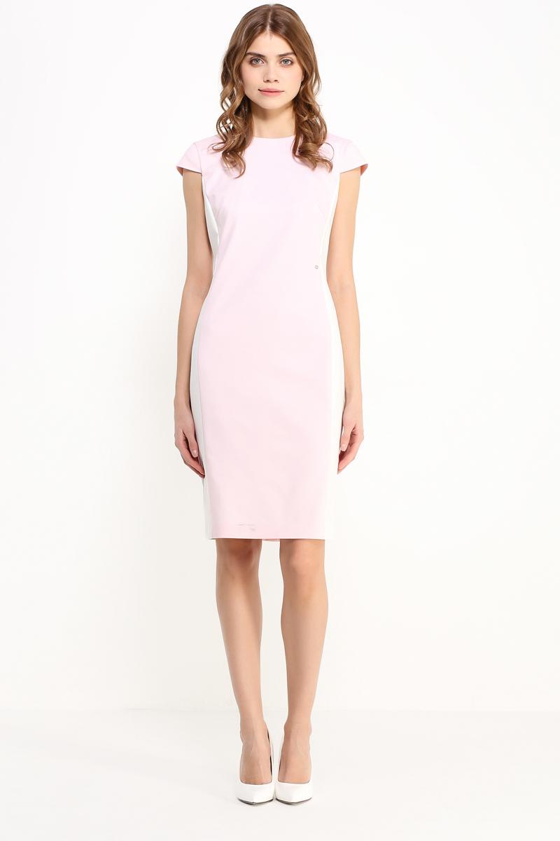 Платье Finn Flare, цвет: розовый. CS17-17008_314. Размер M (46)CS17-17008_314Платье Finn Flare выполнено из хлопка, нейлона и эластана. Модель с круглым вырезом горловины и короткими рукавами сзади застегивается на застежку-молнию.