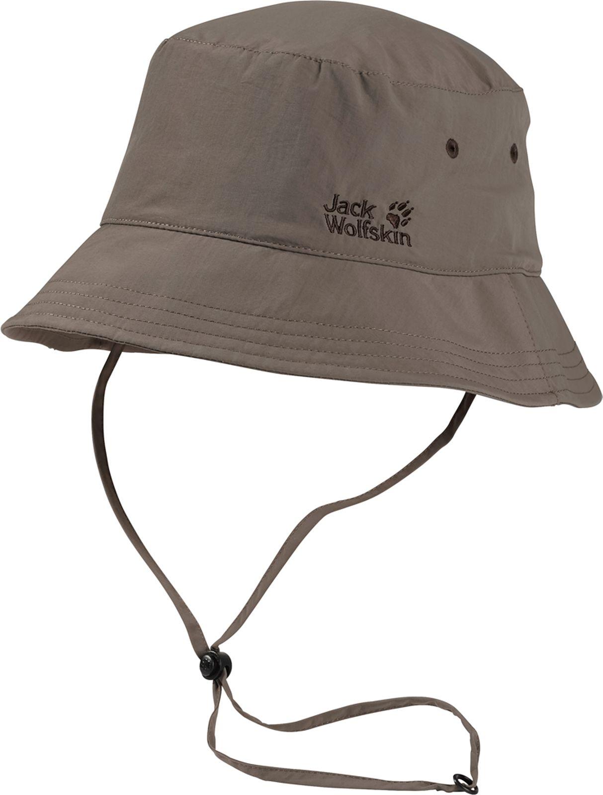 Панама Jack Wolfskin Supplex Sun Hat, цвет: темно-бежевый. 1903391-5116. Размер L (57/60)1903391-5116Панама Jack Wolfskin Supplex Sun Hat станет отличным дополнением к вашему гардеробу. Изготовлена из высококачественного материала она хорошо пропускает воздух. Внутри модель дополнена сетчатой вставкой. Панама с высоким солнцезащитным фактором дополнена текстильным шнурком с пластиковым фиксатором, что обеспечиваетлучшую фиксацию на голове. На модели предусмотрены вентиляционные отверстия. Оформлено изделие вышивкой в виде логотипа бренда. Такая панама отлично защитит вашу голову от солнца.