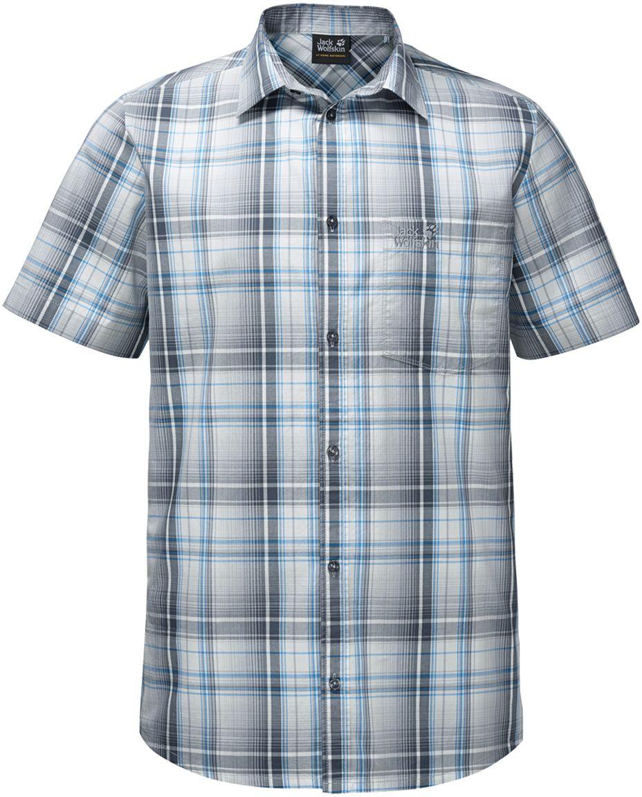 Рубашка мужская Jack Wolfskin Hot Chili Shirt M, цвет: голубой, серый. 1400244-7659. Размер XXL (54)1400244-7659Рубашка мужская Hot Chili Shirt M изготовлена из 100% натурального хлопка. В ней вы будете чувствовать себя комфортно в жаркую погоду. Модель отлично вентилируется и дает ощущение прохлады. Рубашка застегивается на пуговицы, имеет отложной воротник и короткие стандартные рукава. Спереди расположен накладной нагрудный карман. Рубашка дополнена принтом в клетку и логотипом бренда.